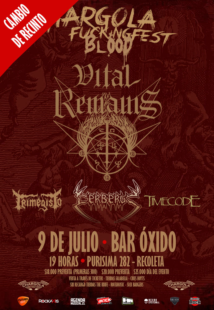 Concierto de Vital Remains cambia de local