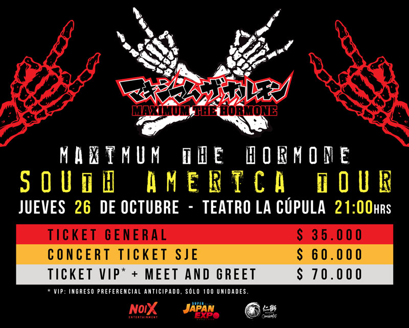 Maximum The Hormone confirma concierto en Chile